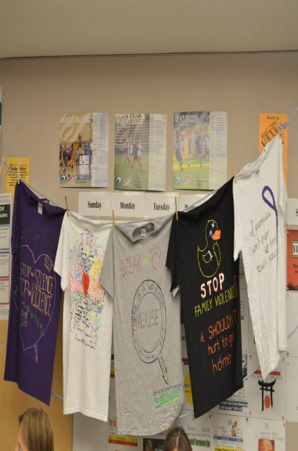 Display+of+shirts+designed+last+year+for+the+clothesline+project