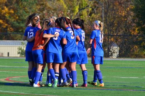 AACCs Womens Soccer team getting pumped.