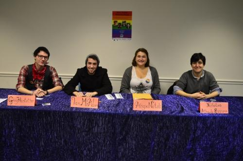 University of Maryland students, Guy Hostetter, Ian McAdams, Angela Natoli and Nicholas Athayde-Rizzaro shared their personal experiences of being a part of the LGBT community