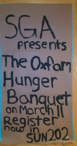 The Oxfam Hunger Banquet will be held at 6 p.m. in the SUN dining hall on March 11 in hopes of helping raise awareness about poverty and global hunger.