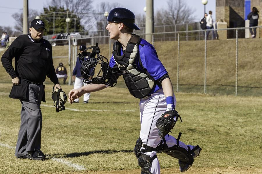 """Catcher Kyle Brandt during a game against the Prince George's Community College """"Owls."""