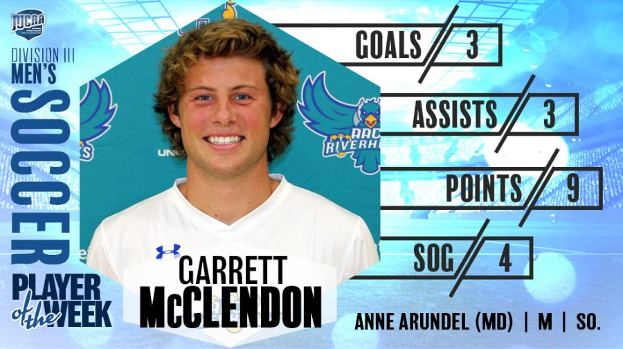 Garrett McLendon was featured on the NJCAA website for being awarded player of the week.