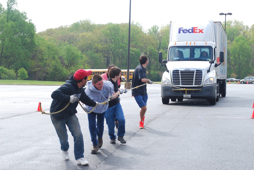 AACC's Truck Pull event gives students the chance to speak to transport logistics specialists about a career.