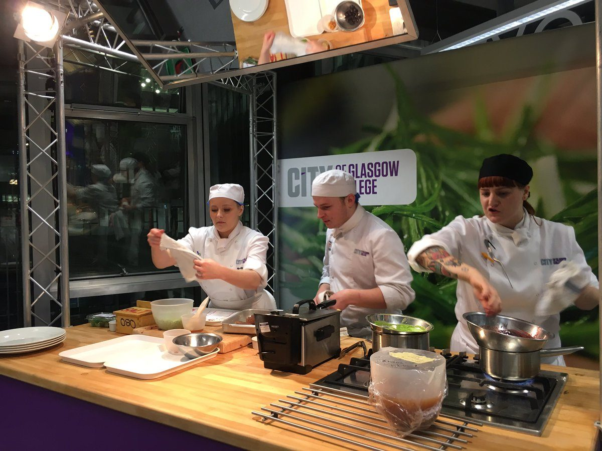 AACC's student culinary team competes against City of Glasgow College's cooking students during an October visit last year.