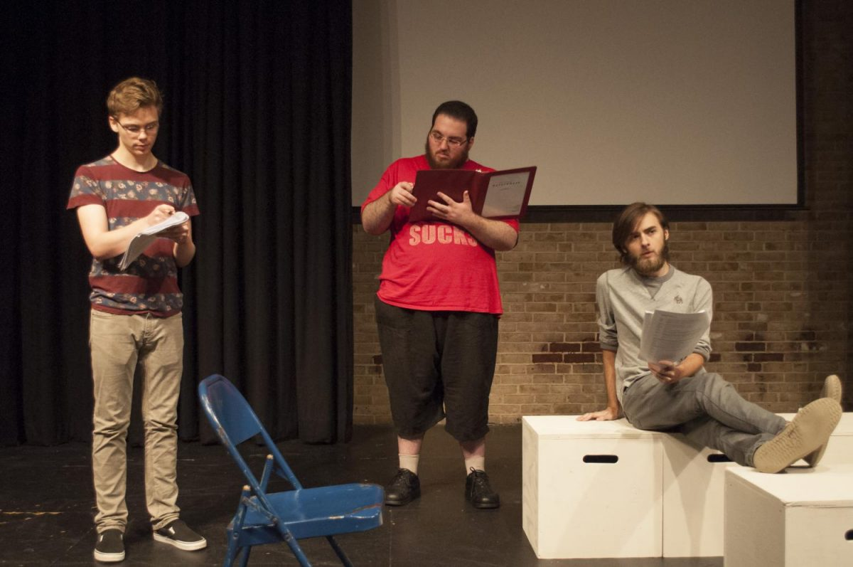 """Student actors Grant Scherin (left), Jonas Pallaro- Somneborn and Alec Moyes are rehearsing for the upcoming play """"Neverwhere"""" opening on Nov. 3."""