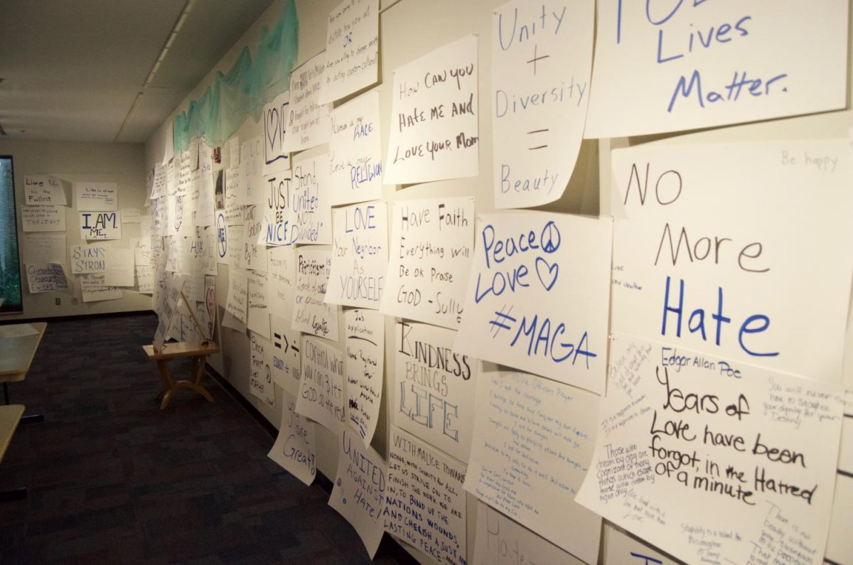Posters containing student opinions cover the walls of Pascal Gallery.