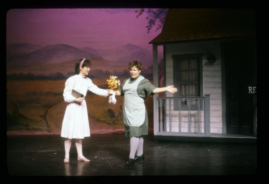 "Joy Ajello (right) plays Auntie Em in AACC's 1984 production of ""The Wizard of Oz."""