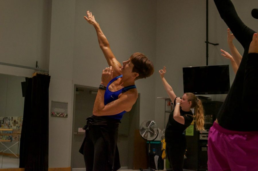 Dance Director Lynda Fitzgerald helps the AACC Dance Company rehearse in preparation for an upcoming show.