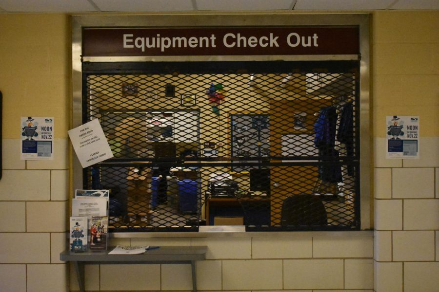 """The equipment check-out room, also known as """"the Cage,"""" is in the gymnasium building at AACC. Photo by Cameron Terrelonge"""