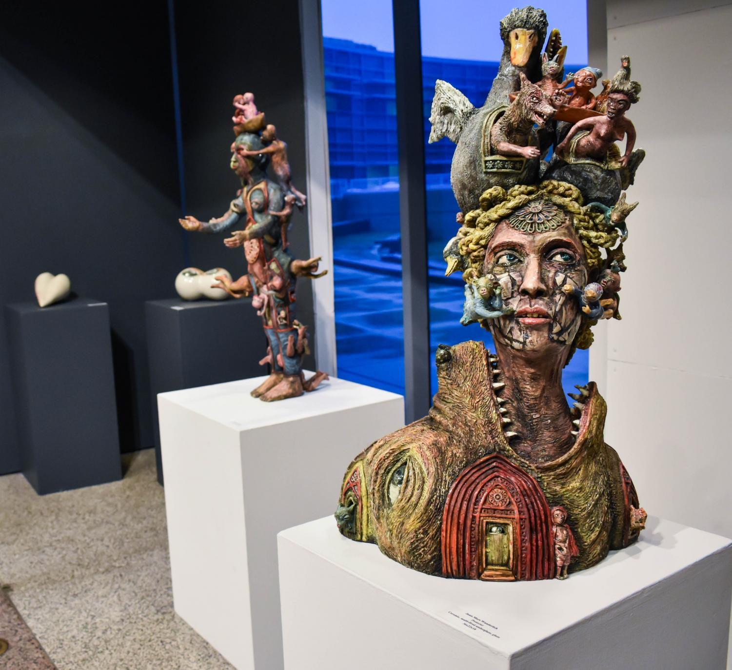 "The Crowns traveling exhibit includes ceramic works celebrating and exploring motherhood. Pictured here is ""Protector"" by Janis Mars Wunderlich. Photo by Daniel Salomon"