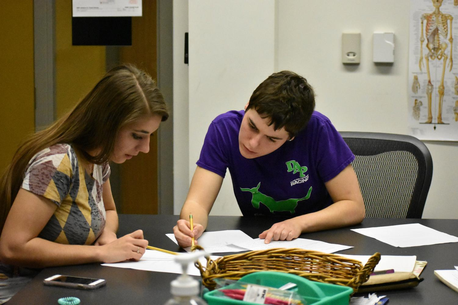 Second-year students Jessica Strauss (left) and Hannah Peterson work on their math homework in a study group.