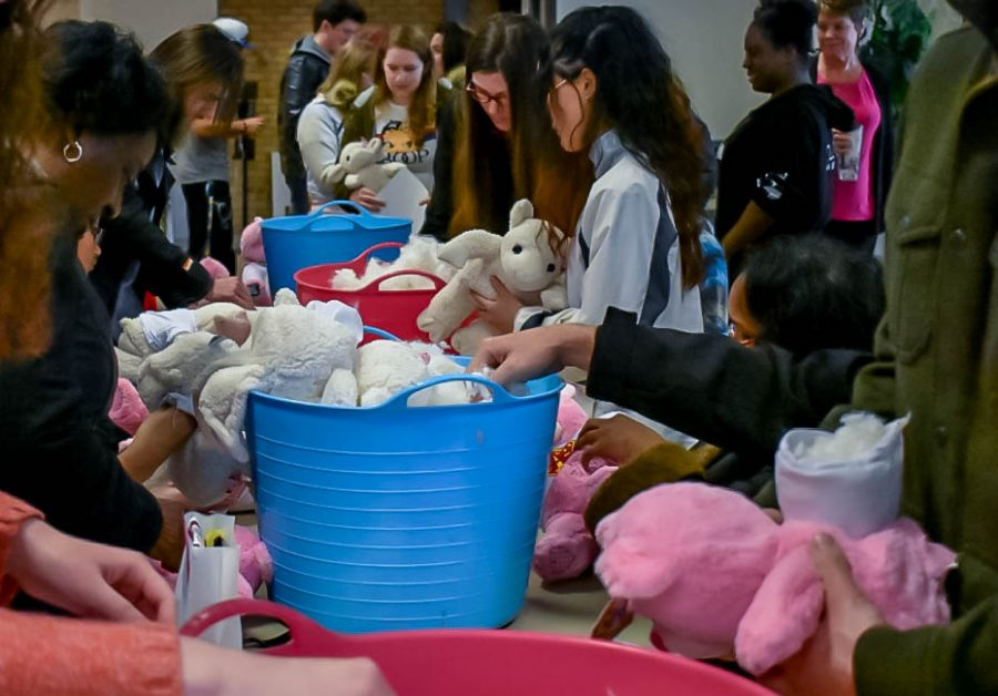 The Campus Activities Board hosts Stuff-a-bear, letting students stuff their own bears for Valentine's Day. Photo by Mary Kane