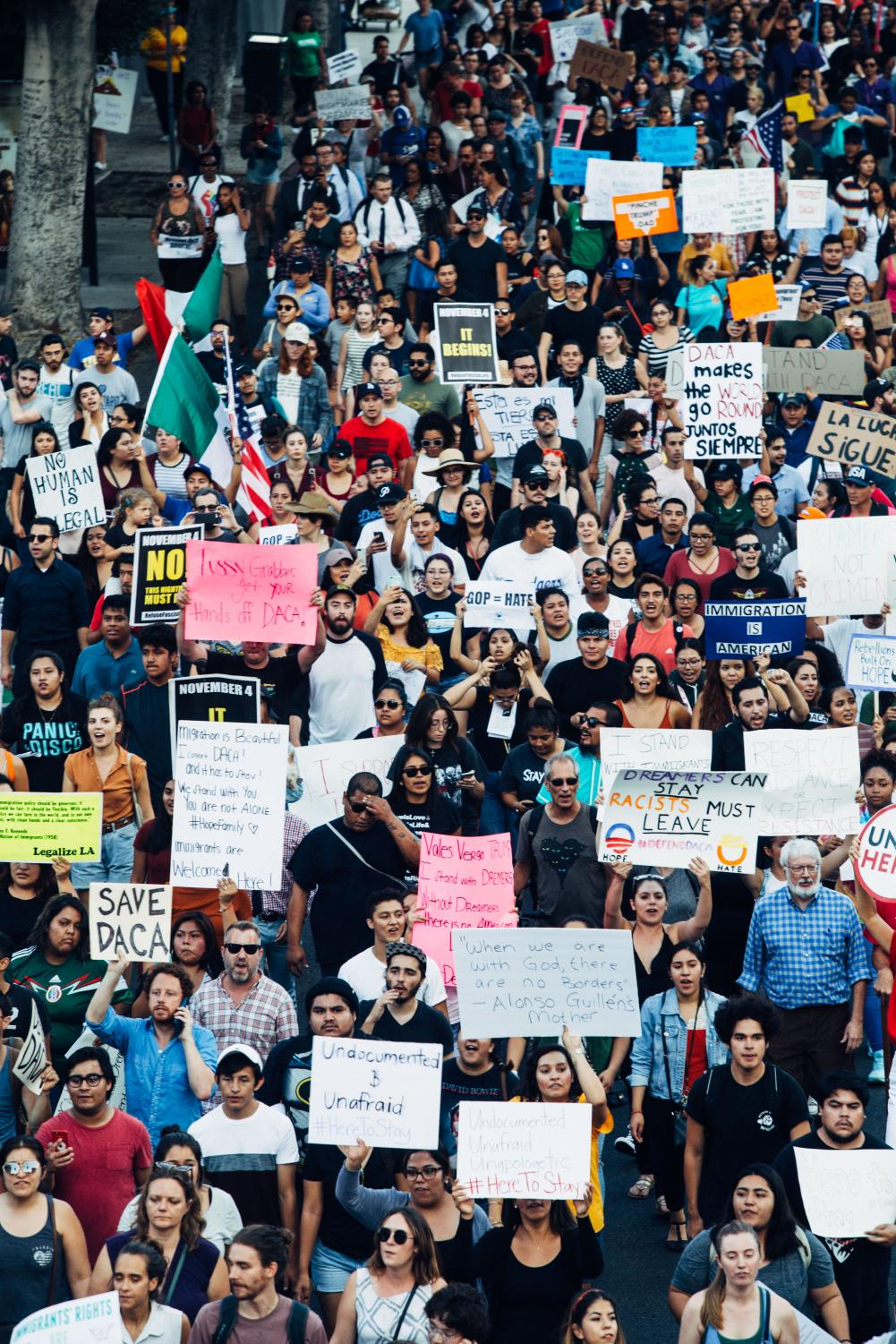 Marchers gather in Los Angeles on Sept. 5 to support immigrants who came to the U.S. illegally as children. AACC has not released any public statements about the issue.
