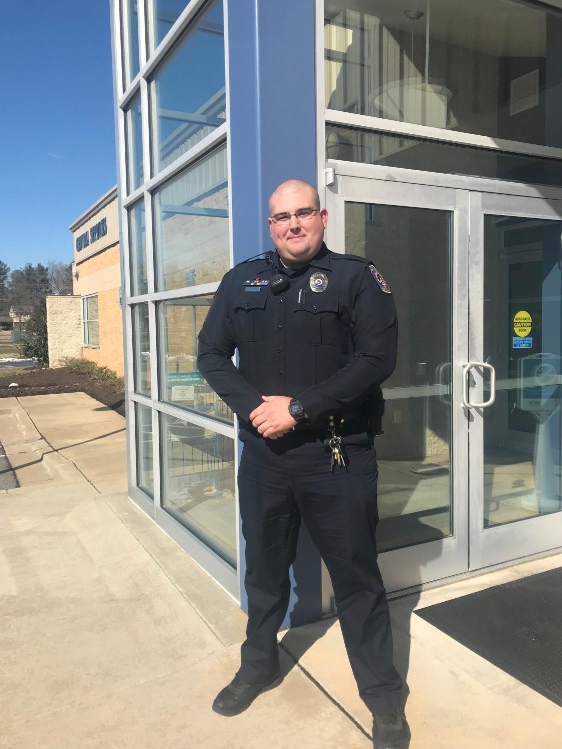 Students say they don't worry about their safety on campus because of constant police patrols. Shown, Officer Duane Gottschalk.