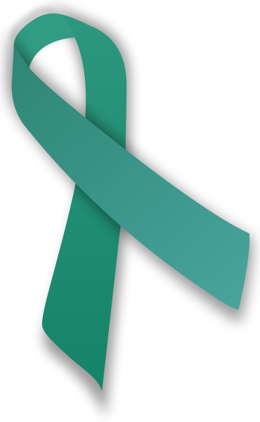 The teal ribbon represents sexual violence awareness. Most people do not report when they are sexually harassed.