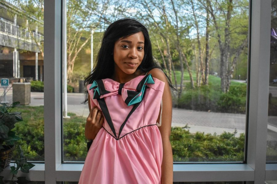 Second-year secondary English education student Lakeesha Kenney, like other AACC students, is eligible to donate her used prom dress to a high schooler.