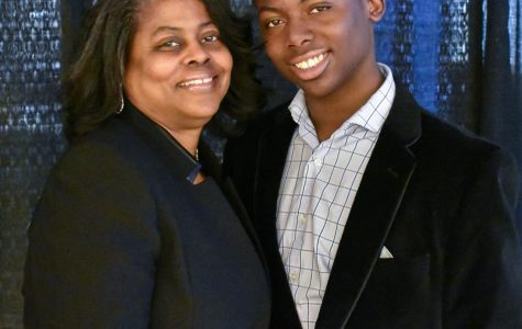 Third-year transfer studies student Torrington Davis Ford—shown here with his mother, Tarita Ford—is graduating from AACC at 15 years old, the day before he graduates from high school.