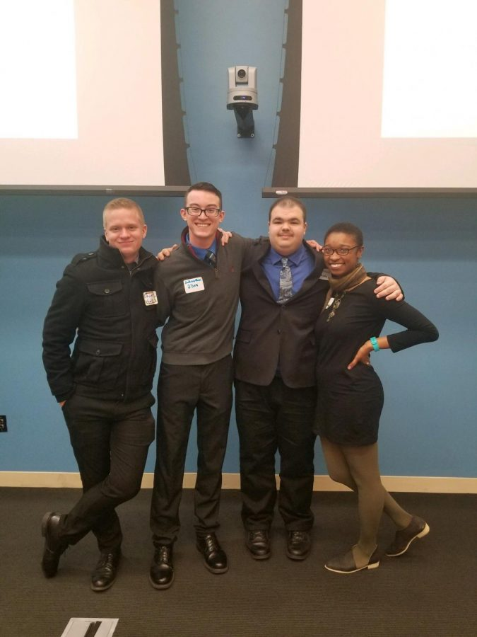 Starting next semester, SGA officers and senators will receive stipends for their time. Shown here are Jacob Smith (left), Johnathan O'Dea, Michael Santos and Morgan Mitchell.