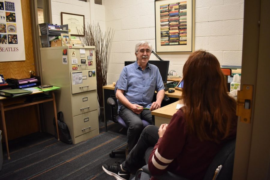 English professor Dave Meng says his policy is to keep his door open during student conferences.