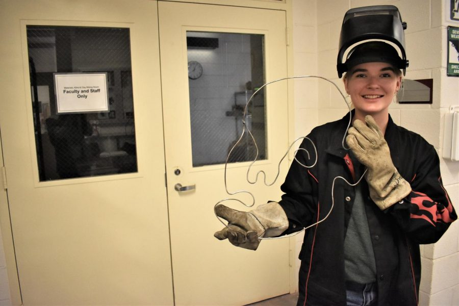 Second-year student Bethany Probst is taking a welding class.
