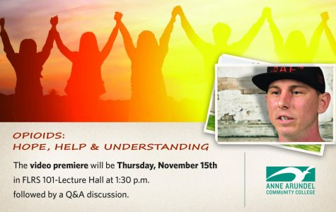 The promotional banner for a new drug abuse awareness video features recovering addicts at AACC.
