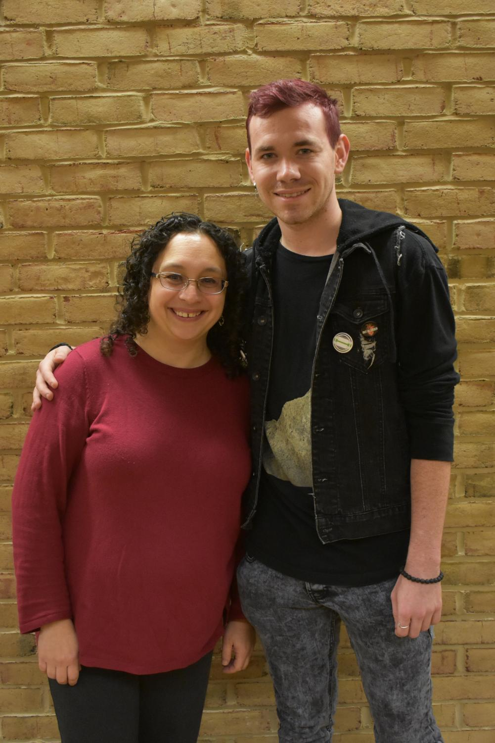 Garrett Hutchinson, a second-year psychology student and president of the Gay-Straight Alliance, has discussed LGBTQ+ issues with Rainbow Network member Rachelle Tannenbaum, a professor in the psychology department.