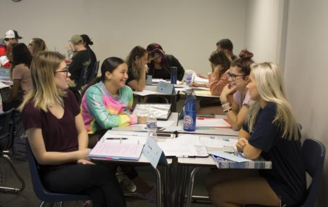 Psychology professor Julie Grignon has rearranged her class into groups to help engage students.