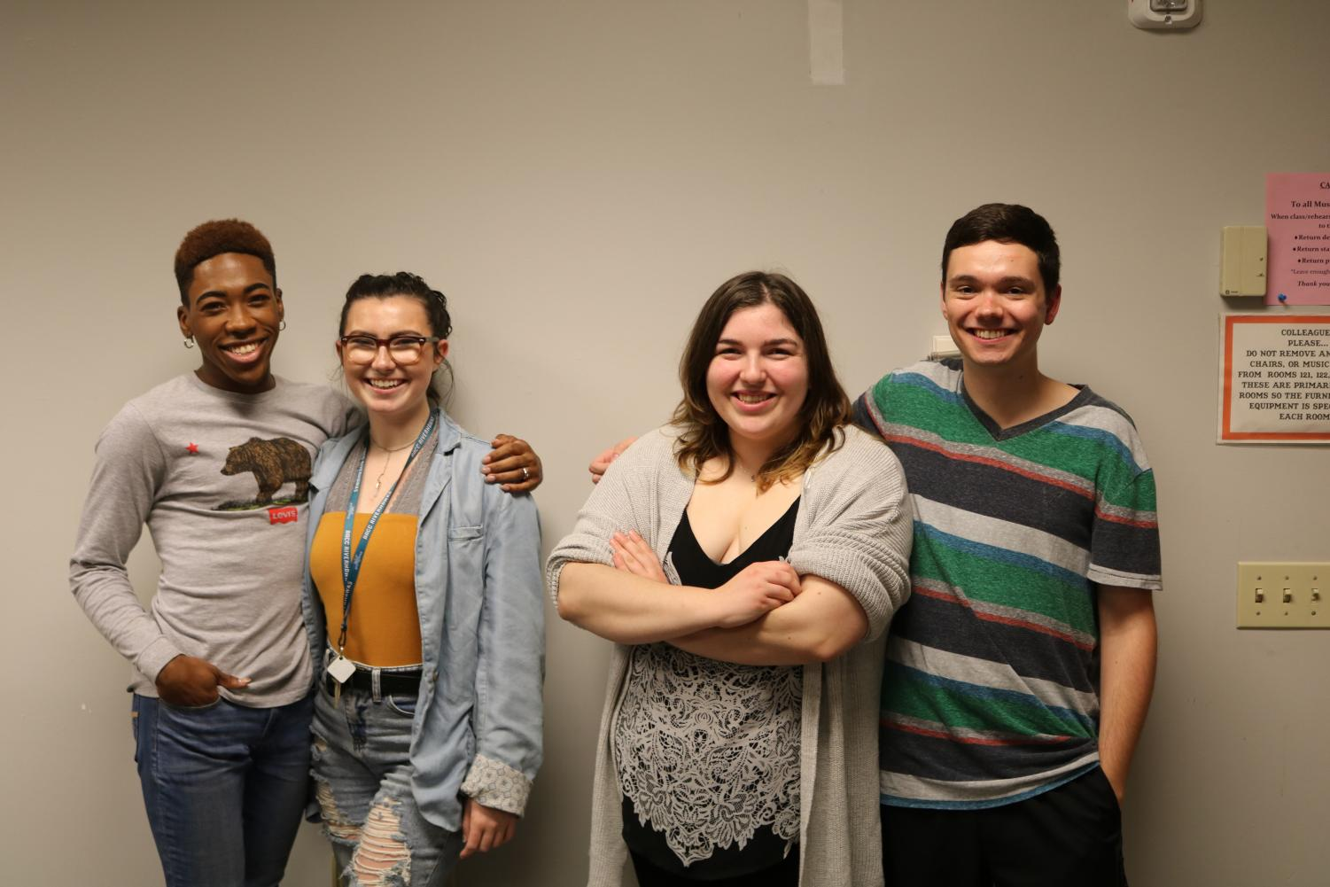 "Alum Izzy Amor, first-year theater student Allison Vallario, third-year culinary student Annie Gorenflo and second-year transfer studies student Johnny Dunkerly (left to right) will be in ""Hairspray"" this fall."