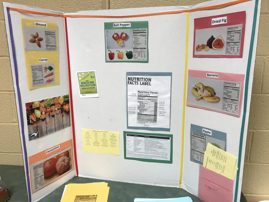 The Health and Wellness club offered free fruit and informational charts in the back of the room.