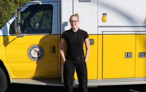 First-year EMT Lydia Rutledge works to save lives.