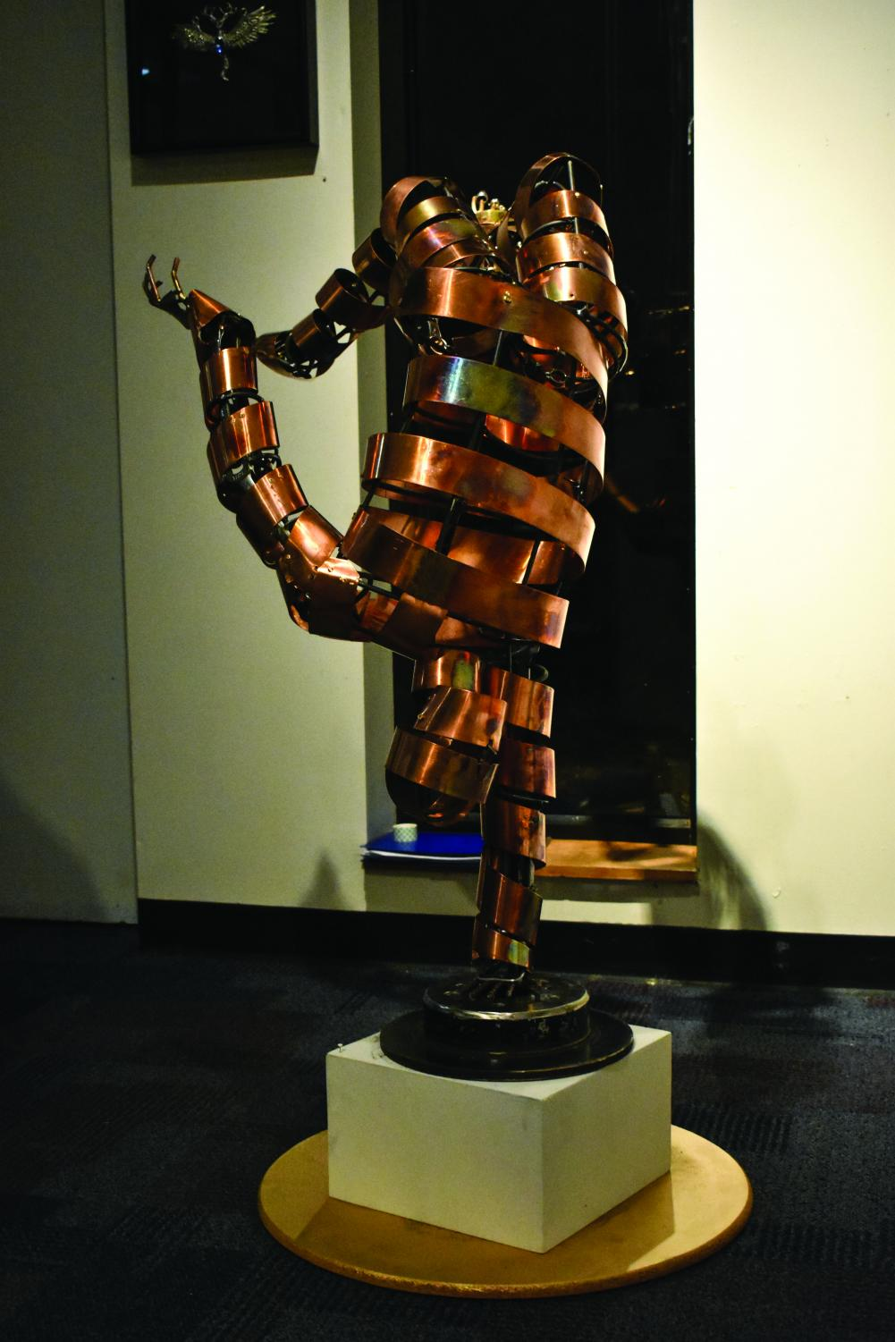 """The student sculpture show, """"Power of Three,"""" features artwork like the piece above by Sergio Alvarez."""