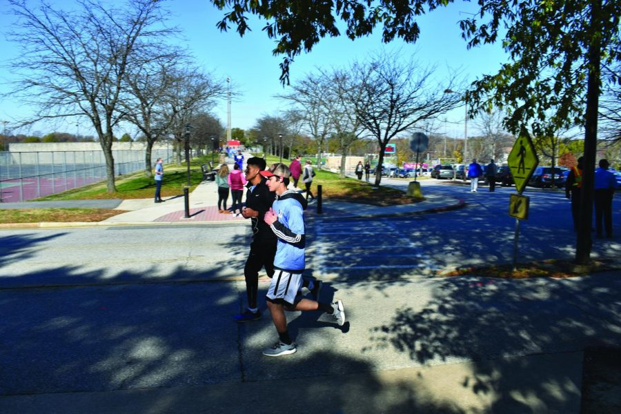 The AACC Turkey Trot starts on Siegert Field, crosses the foot bridge, winds around West Campus and finishes back at Siegert Field.