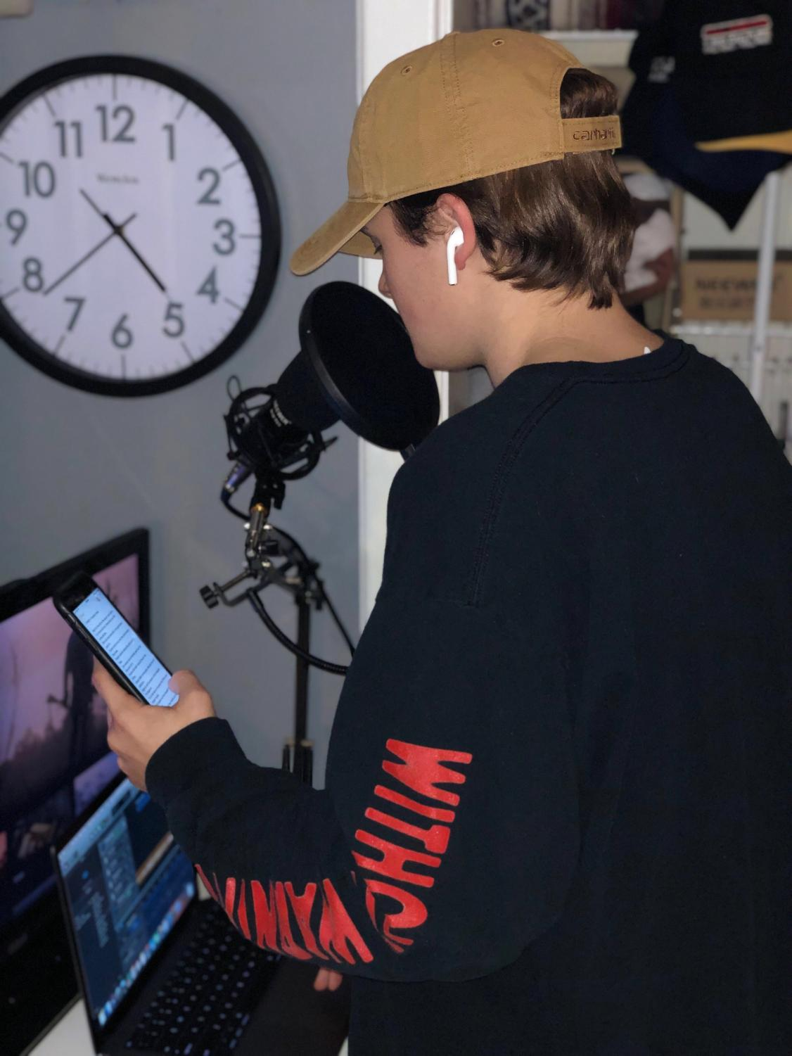 Student Dalton Fielder records music.