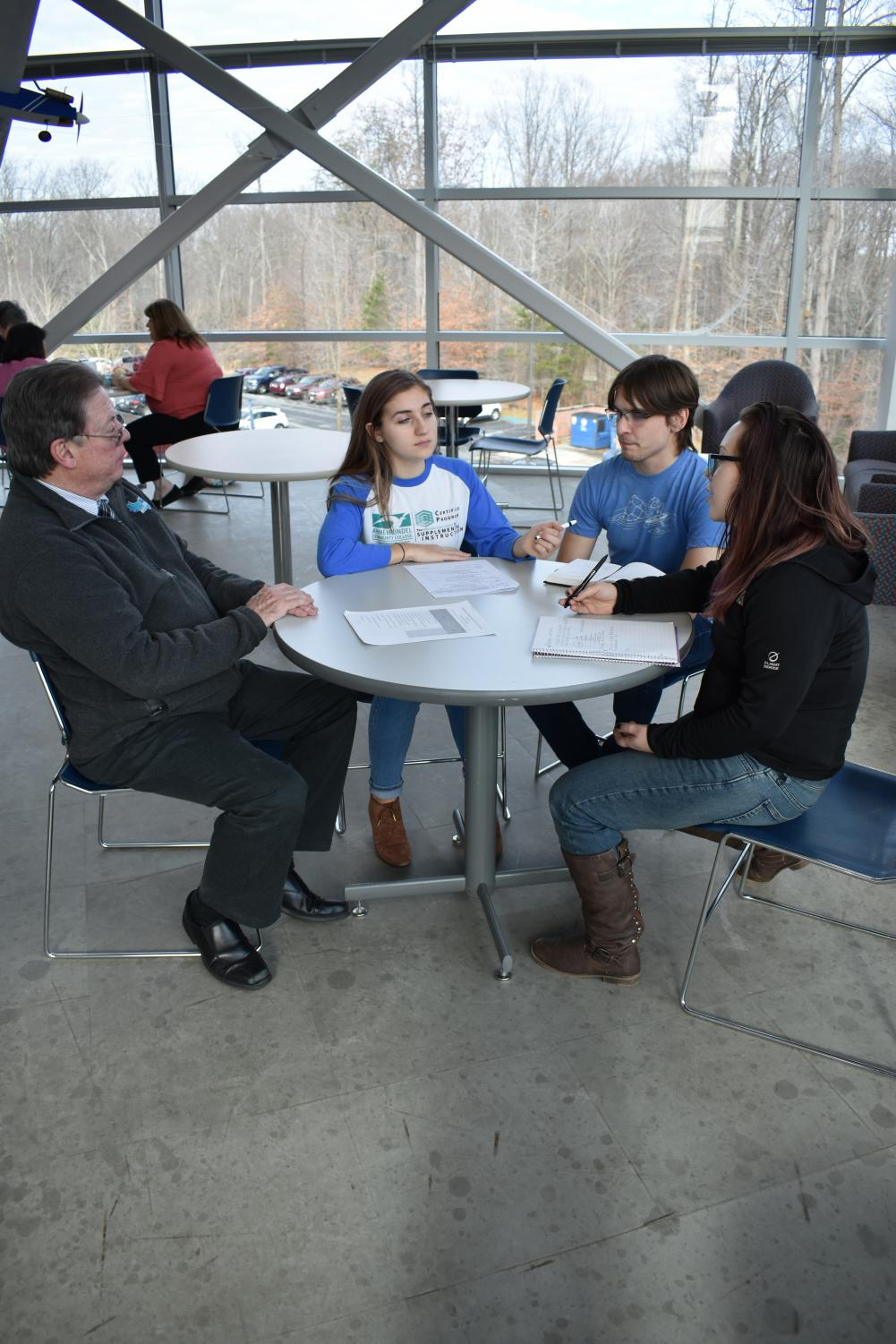 Coordinator of STEM Initiatives Jose Barata, second-year nursing student Julianna Fernandez, intern Peter Chordash and second-year nursing student Natasha Seeger are working together to plan for spring semester as new classes become supported by supplemental instruction.