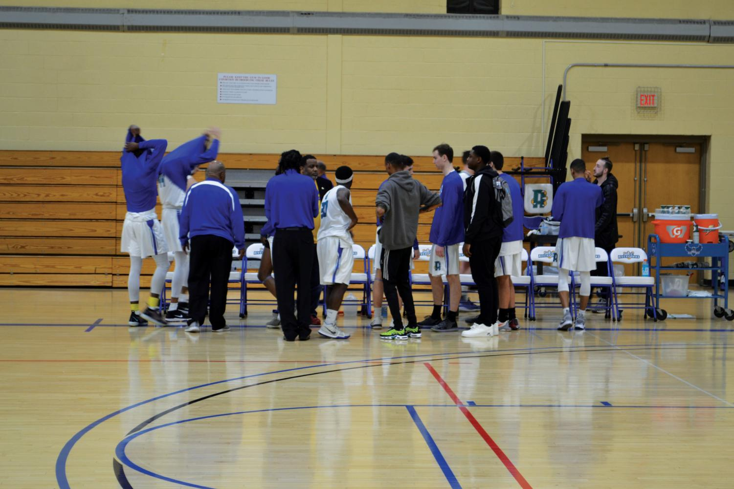 Riverhawks' Men's Basketball prepares to play Chesapeake Community College.