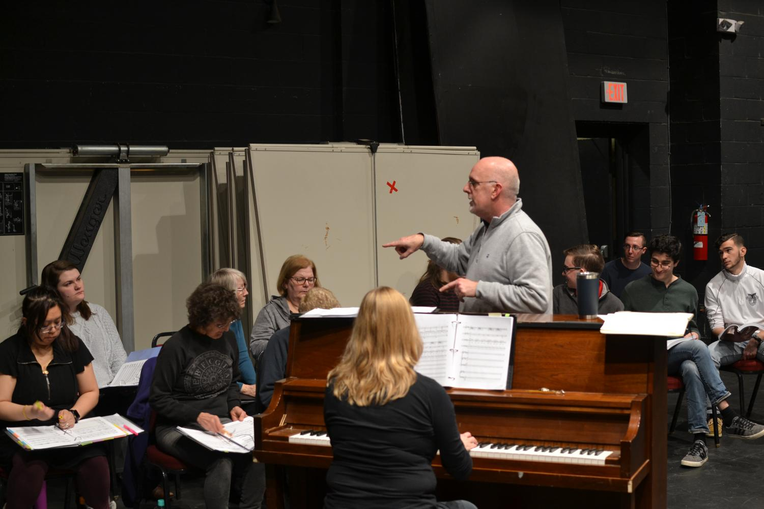 "Professor Doug Byerly, who plays the lead role in ""Sweeney Todd,"" directs a rehearsal."