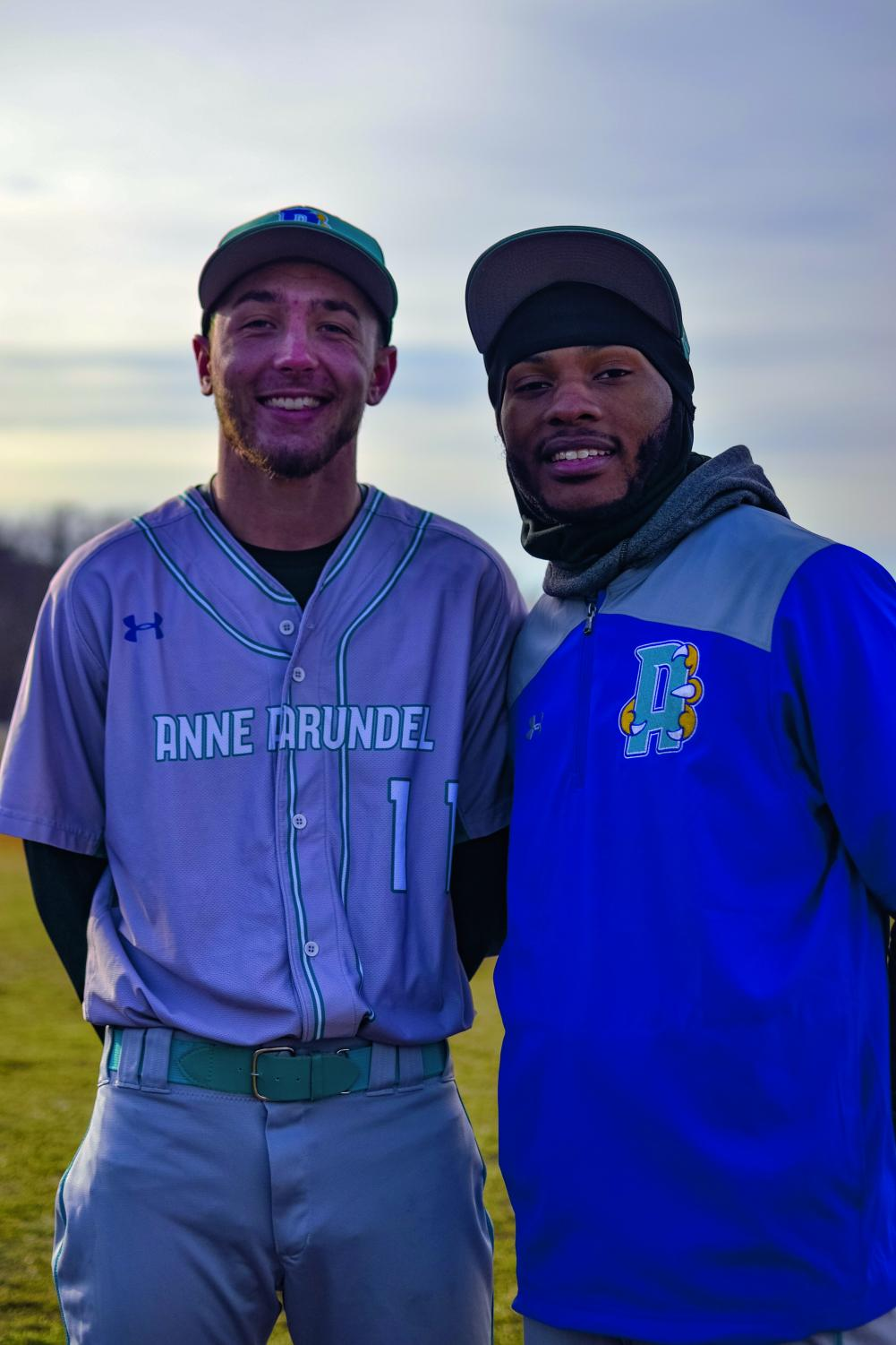 Blake Rebstock (left), a second-year criminal justice student, and Darius Brook, a first-year business student, are captains of AACC Baseball.