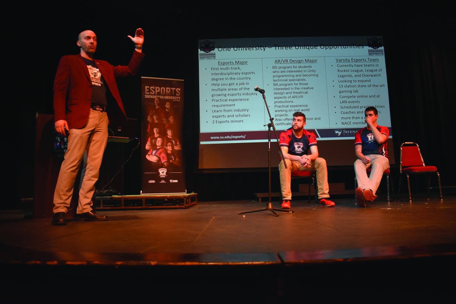 Speakers from Shenandoah University's eSports team advise students on how to get a job in gaming.