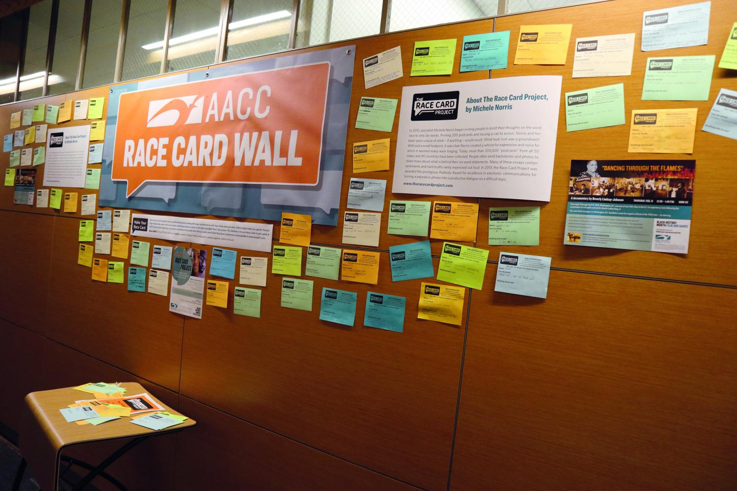 In celebration of Black History Month, AACC students and staff wrote their experiences with racism and posted them on Race Card Walls in the Careers Center, Humanities and CALT.