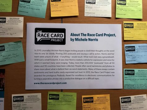 AACC students post their race cards on three walls around campus.