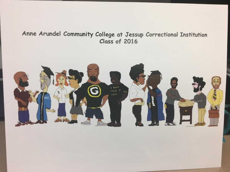 Eric+Brunner%2C+an+inmate+at+Jessup+Correctional+Institution%2C+created+a+digital+photo+of+the+2016+class+of+graduating+prisoners+who+earned+certificates+from+AACC.