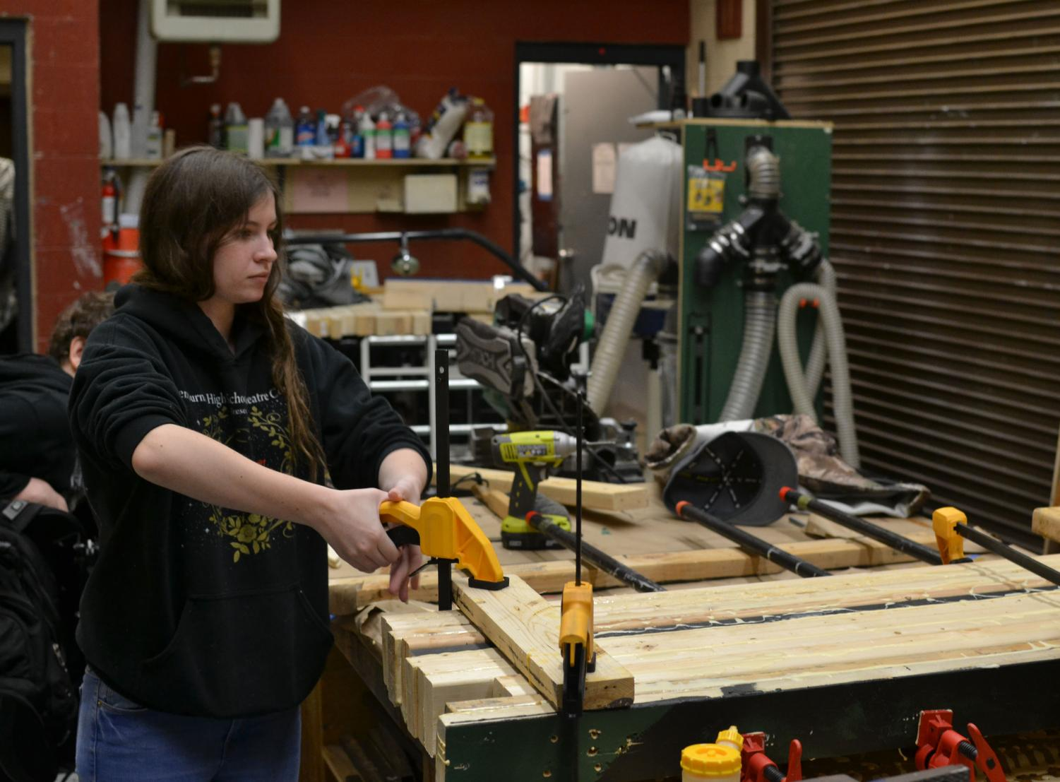 "Lauryn Damron, a first-year theater student, makes props for the ""Romeo and Juliet"" production."