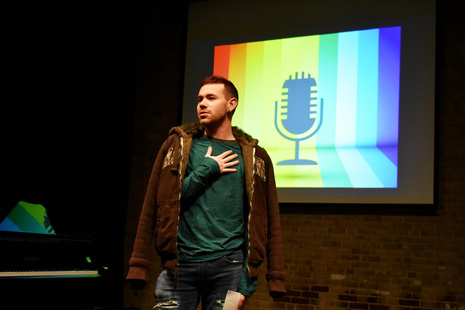 Gay-Straight Alliance President Garrett Hutchinson performs at last year's joint GSA/Amaranth poetry event.