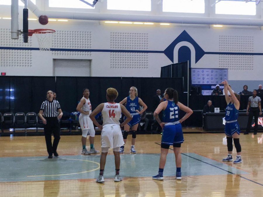 Lacey+Hinkle%2C+forward+for+the+Riverhawks%2C+shoots+and+scores+a+free+throw