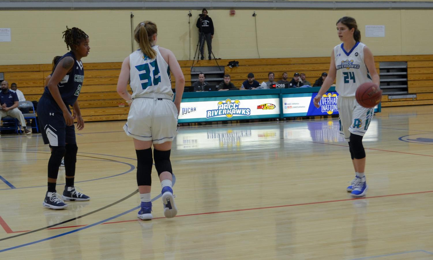 Hannah Lieb, with the ball, who plays guard and Lacey Hinkle, who plays forward, are playing at the nationals.