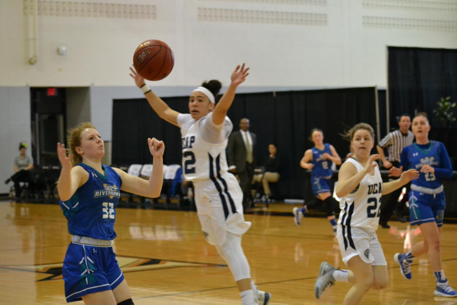 Riverhawks forward Lacey Hinkle goes for the ball in the team's final game at nationals.