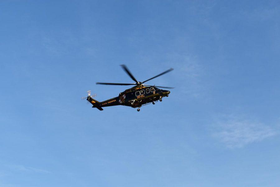 Medevac helicopter lands in overflow parking field