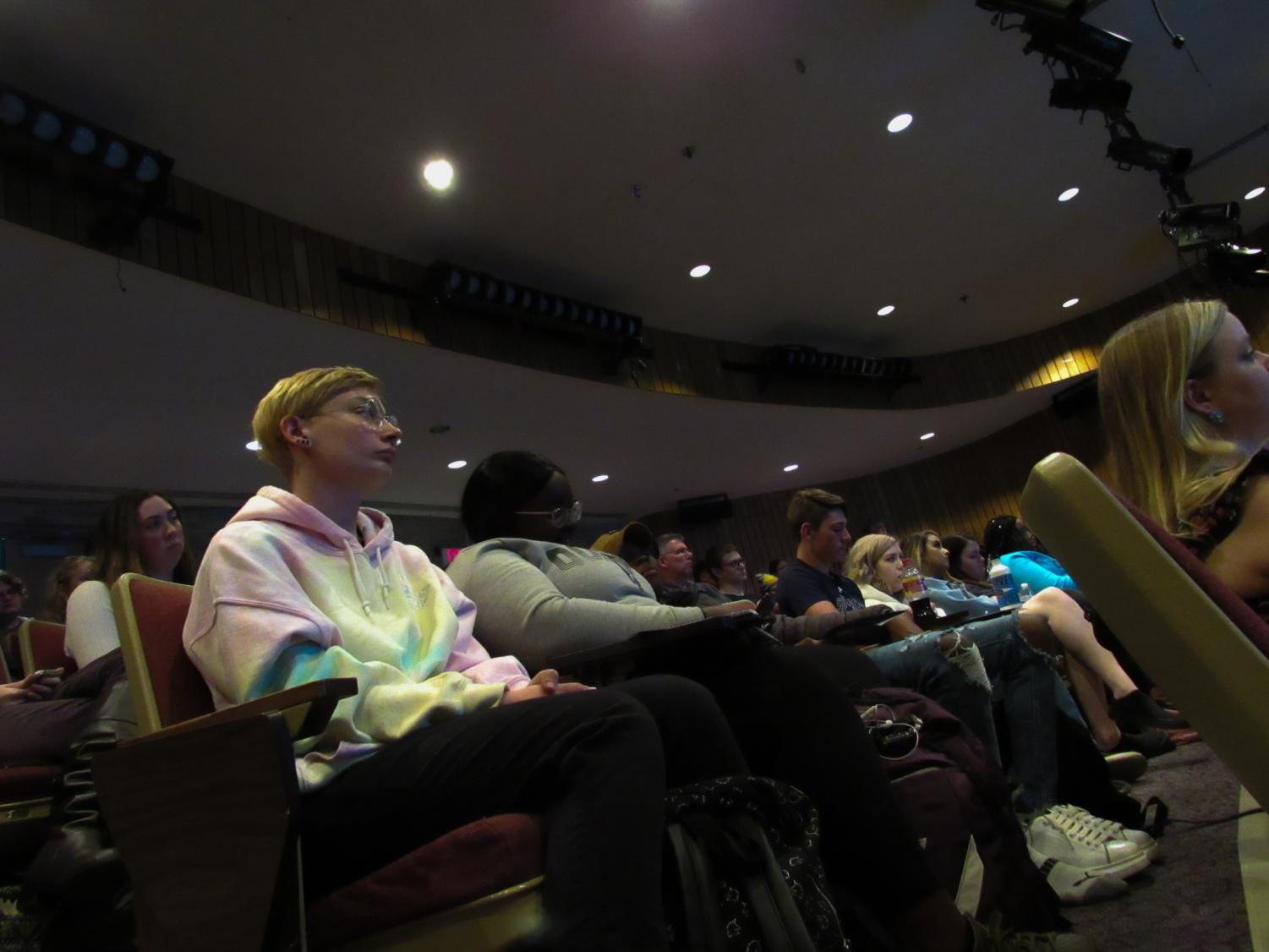 The auditorium was almost packed full with students and attendees for the Soapbox Sisters event.