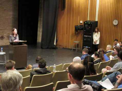 Poet Tyler Mills speaks at yesterday's Writers Reading event, which highlighted her work on nuclear devastation.