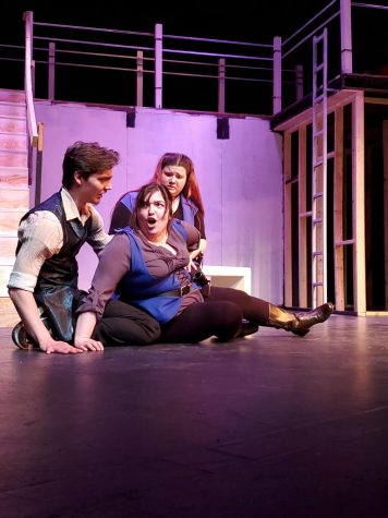 Pictured above: Jack Venton as Romeo, Annie Gorenflo as Mercutio and Amanda Matousek as Benvolio.